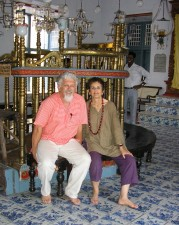 Happier times: Michael & Annie Talvé in the Paresi Synagogue, Cochin