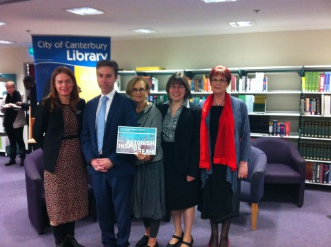 Learning Framework Launch. From left: Paula Pfoeffer, Rockdale Library; Cameron Morley, State Library of NSW; Annie Talve; Sue McKerracher, ALIA; Michelle Simon, Canterbury Library Service