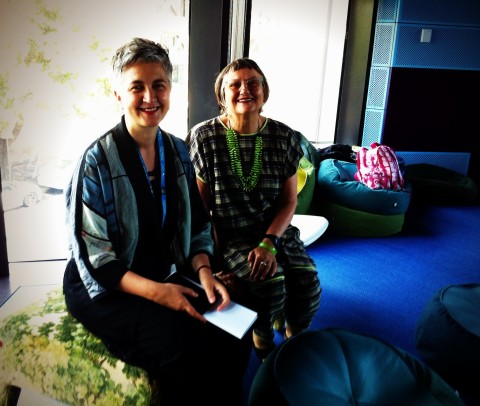 Patti Manolis and Sally Gray enjoy another comfortable ottoman in the GLHC